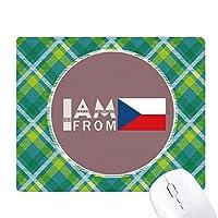 私はチェコ人です 緑の格子のピクセルゴムのマウスパッド