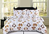 HowPlum Full/Queen Dog Puppy Comforter Bedding Set Pet Themed Animal Lover Brown, Tan and White