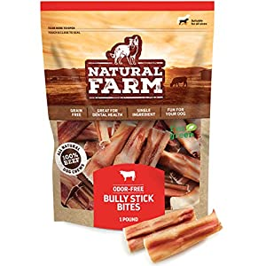 Natural Farm Small Bully Stick Bites 2-3 Inches (1 LB. Value Pack) All-Natural, Farm-Raised Beef Dog Treats | Odor-Free, Grain-Free | Fully Digestible Chews for Small, Medium, Large Breeds
