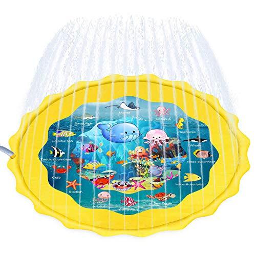 Aufun Kinder Splash Pool 170cm Splash Pad, Runden Sprinkler Splash Play Matte, Sommer Garten Wasserspielzeug Spritzen Wasserspielmatte für Outdoor Familie Aktivitäten, Party, Strand - Gelb