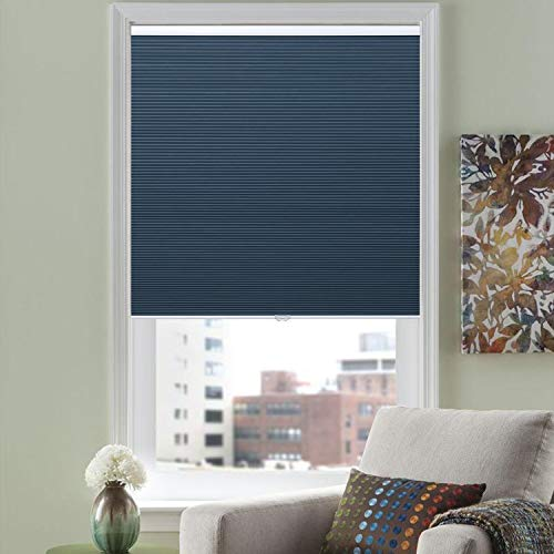 HOMEDEMO Cellular Cordless Shades Blackout Window Blinds UV Protection Fabric Blind, 39' W x 64' H, Blue