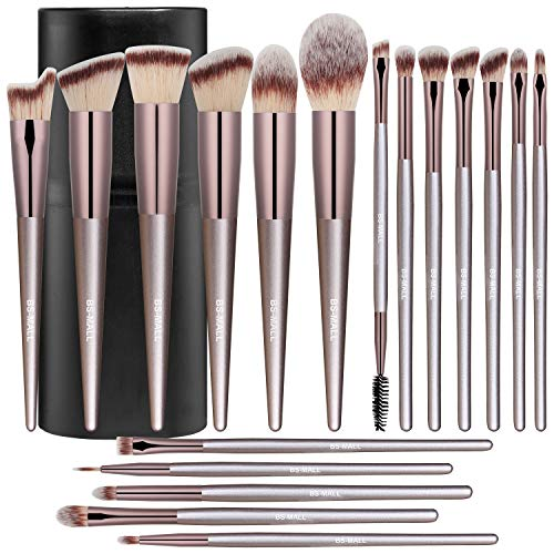 BSMALL Makeup Brush Set 18 Pcs Premium Synthetic Foundation Powder Concealers Eye shadows Blush Makeup Brushes Champagne Gold Cosmetic Brushes with Black Case