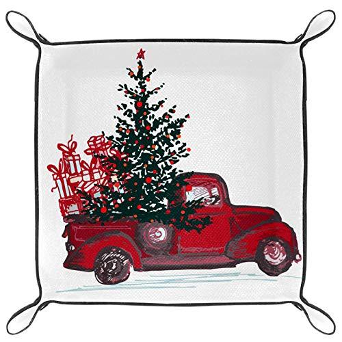 HANDIYA - Bandeja plegable de piel sintética para reloj y joyas, soporte para camión rojo con árbol de abeto
