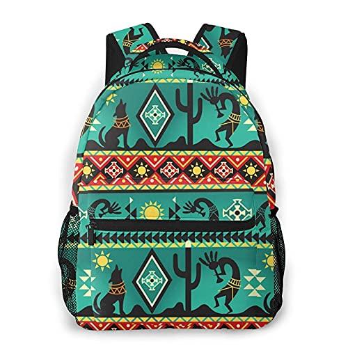 QQIAEJIA Mochila Fabric Native American Winter Wolf Run Backpack Girls Boy Travel hiking Shoulder Backpack Lightweight Book bag Outdoor Kid Adult School Backpacks camping daypack Halloween Decor