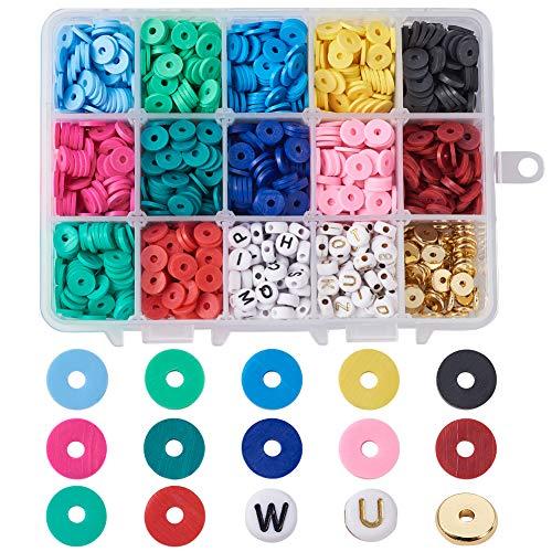 PandaHall 4560 ~ 4800 unidades de 8 mm de cuentas redondas planas de arcilla de polímero disco de 12 colores hechos a mano Heishi espaciador cuentas con acrílico alfabeto y cuentas de latón es