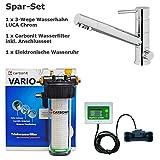 Set économique Carbonit Vario Classic Filtre à eau filtre eau potable + 3voies Robinet Luca pour l'eau froide, chaude et filtrée. Robinet de cuisine chromé, mitigeur, mitigeur, robinet 3Voies Eau