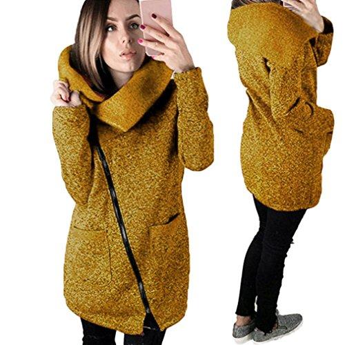Kolylong® Oberteile Damen Warme Kapuzenjacke Beiläufiger Mantel Sweatshirt Oberbekleidung (XXL, Gelb)