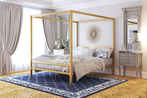 DHP Modern Canopy Bed with Built-in Headboard - Queen Size (Gold)