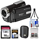 Vivitar DVR-508 HD Digital Video Camera Camcorder (Black) with 16GB Card + Case...