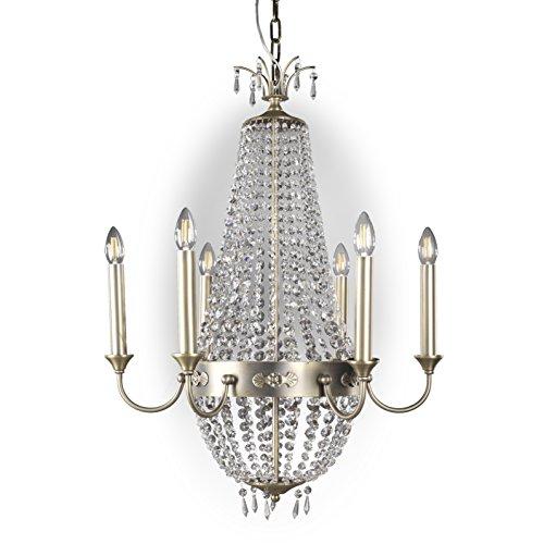 ONLI plafondlamp, 6 lampen, kristalglas, messing antiek-look, kristalglas