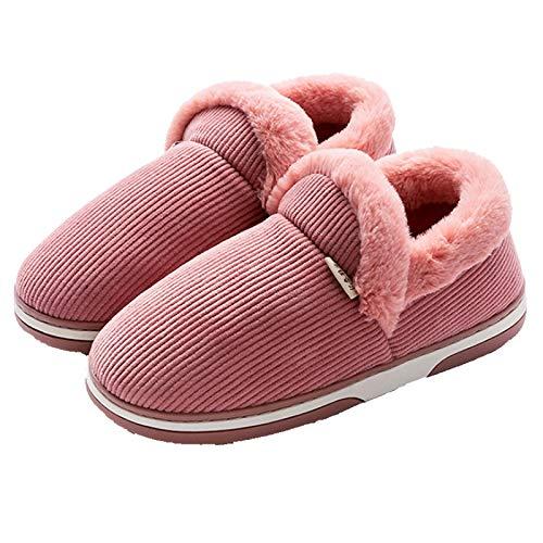 GRTBNH Zapatillas de algodón para Mujer, Zapatillas de Felpa de Fondo Grueso con diseño de Suela de Goma Antideslizante, cómodos Zapatos de Invierno cálidos para Interiores y Exteriores,Rojo,36~37