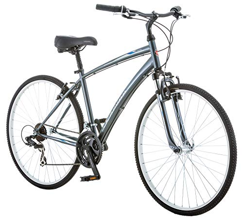 Schwinn Network 1.0 Mens Hybrid Bike, 700c Wheels, 21-Speed, 18-Inch Hybrid Frame, Alloy Linear Pull Brakes, Grey