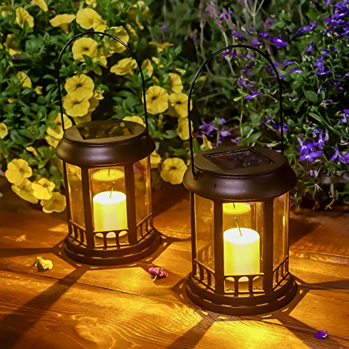 Outdoor Solar Garden Lights Decorative Waterproof LED Flickering Candle Table Lantern Plastic Stake Pathway Lights for Christmas, Patio, Yard, Lawn, Walkway (2 Pack Black)