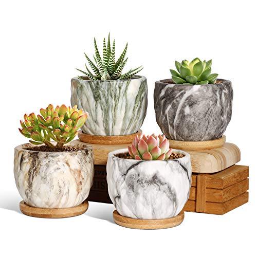 T4U Marmorierung Keramik Sukkulenten Topfe Mit Untersetzer 4er Set, 9CM Klein Marmor Blumentopf für Kaktus, Kräuter, Miniaturpflanzen (Pflanze Nicht Enthalten)