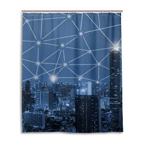 JSTEL Decor Rideau de Douche 3D avec Motif Ville Bleu 100% Polyester Tissu 152 x 183 cm