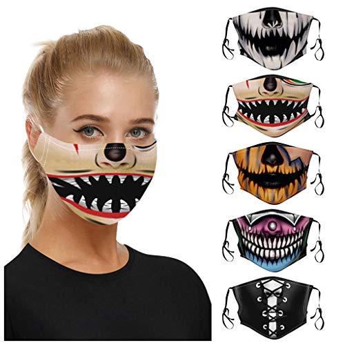 Lomelomme 5 Stück Lustiger Mund und Nasenschutz, Halloween Mundschutz Halstuch Waschbar Wiederverwendbarer und Bequemer Multifunktionstuch