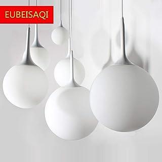 Moderna Globo redondo moderno de cristal blanco Lámpara de Techo Colgante Cristal Colgante Luz Vintage Industrial