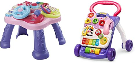VTech Magic Star Learning Table, Pink (Frustration Free Packaging) & Sit-to-Stand Learning Walker, Lavender - (Frustration...