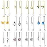 Fansilver 12 Pairs Threader Earrings Set for Women Long Chain Dangle Earrings Teardrop Moon Star Butterfly Cz Drop Earrings Faux Pearl Ball Boho Jewelry