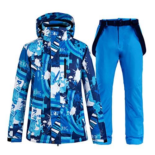 Queenhairs Completo da Sci da Uomo, Giacca da Sci e Pantaloni Caldi da Sci Invernali Impermeabili