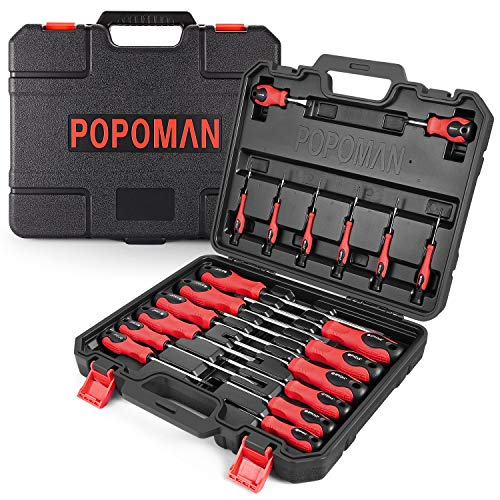 Screwdriver Set, POPOMAN Magnetic 20-Piece Screwdriver Tool Set with Case, 6150CRV, Slotted/Phillips/Torx Screwdriver with Heavy Duty Non-Slip Tips,Tool Kits -MTH300