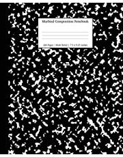 Marbled Composition Notebook: Black Marble Wide Ruled Paper Subject Book: 1 (School Essentials)