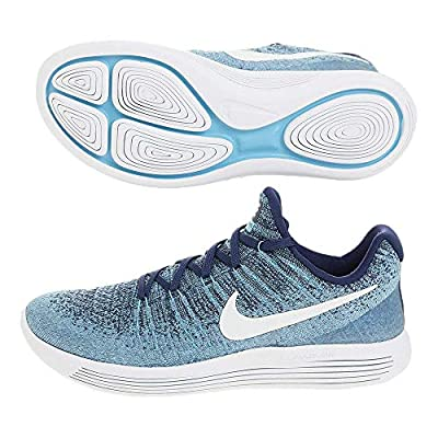 Nike Womens Lunarepic Low Flyknit 2 Fabric Low Top Lace Up, Blue, Size 6.0
