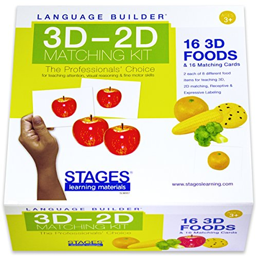 Stages Learning Kit di corrispondenza Lingua Builder 3D-2D alimenti per l'autismo Education & Therapy Flash Cards Aba
