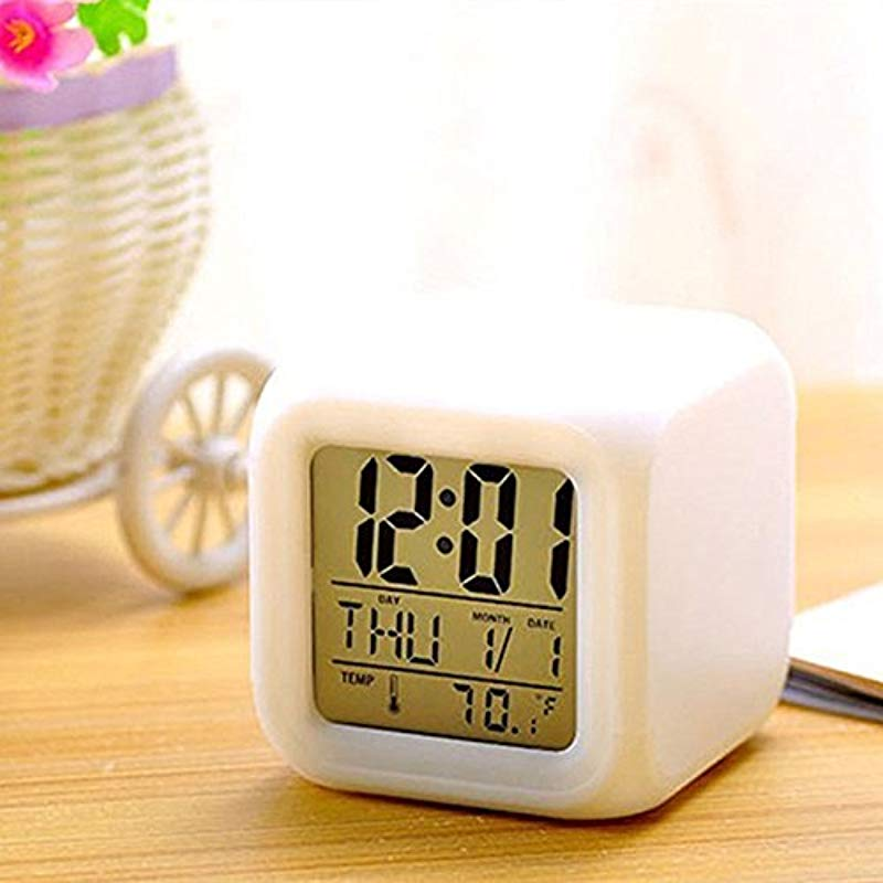 JEOBEST Alarm Clock 7 Colors Changing Digital Alarm Clock With 12 Hour And 24 Hour Time Format Calendar Temperature And Alarm AM