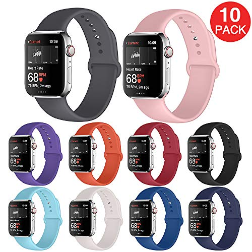 Kaome Sport Band Compatible with Apple Watch Band 40mm 38mm, Soft Durable Strap, Women Men Replacement Wristband for iWatch Band Series 4, Series 3, 2, 1, Breathable Colorful Design-S/M Black