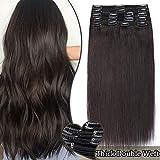 Extension a Clip Cheveux Naturel MAXI VOLUME Noir - Rajout Vrai Cheveux Humain Naturel Epais 8 Pcs Double Weft (#1B NOIR NATUREL, 25cm-110g)