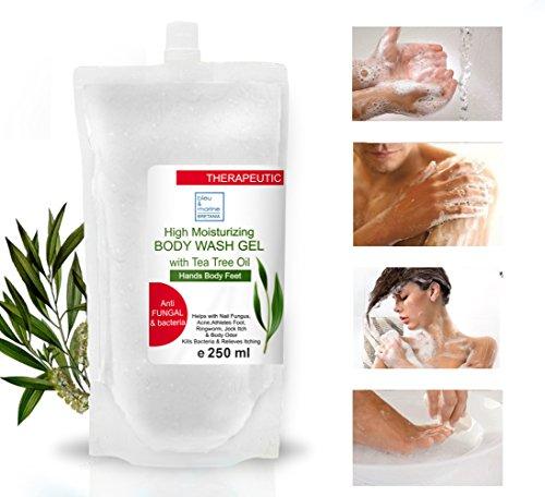 Therapeutische Seife Teebaum ätherisches Öl Antimykotische Nachfüllung 250 ml- SOS Läuse-Shampoo Infektionen Gel Akne Seife