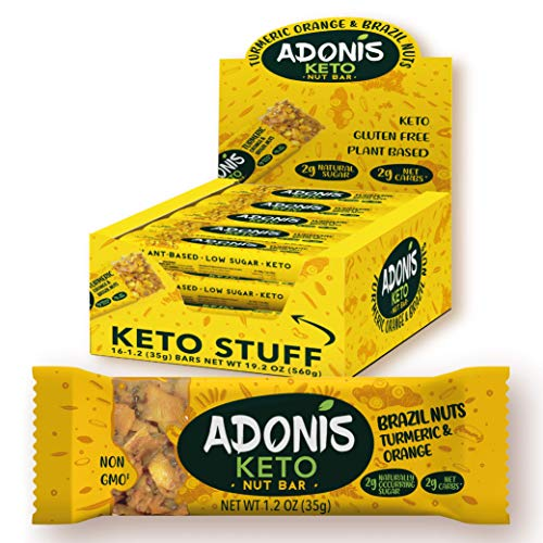 Adonis Low Sugar & Keto Kurkuma Snack Nuss Riegel | 100% Natural, Low Carb, Glutenfrei, Vegan, Keto, Paleo (16)
