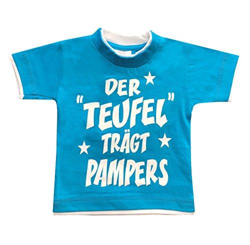 HomeOfSocks John Kids Der Teufel trägt Pampers Lustige & Freche Kinder Baby T-Shirts Aus 100% Baumwolle Größen 98/104 Türkis