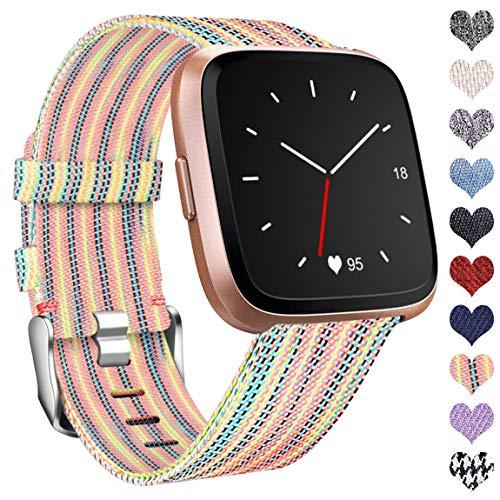 Ouwegaga Kompatibel mit Fitbit Versa Armband/Fitbit Versa 2 Armband, Woven Ersetzerband Verstellbares Zubehör Uhrenarmband Kompatibel mit Fitbit Versa/Versa Lite, Klein Bunt