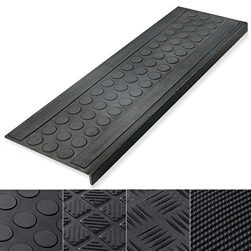 casa pura Marchette d'escalier Tapis antidérapant Caoutchouc Noir   Autocollantes   résistantes   intérieur ou extérieur   Coin, 25x65cm - 5 pièces
