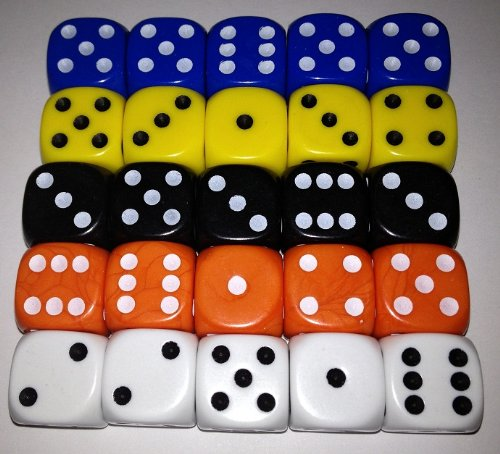 Perudo dice set - Liar Dice - 5 sets of 5 coloured dice, 16mm size by The Dice Place