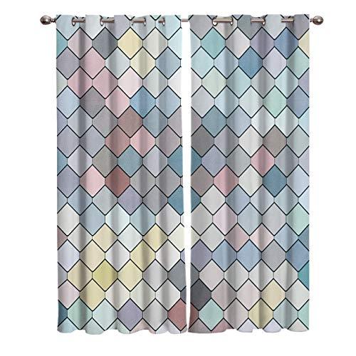 Cortinas Opacas para el Dormitorio 2 Paneles Costuras prismáticas Azules, Verdes, Rosadas y Marrones 100% Poliéster Termicos Aislantes Frio Calor/para Salon Habitacion Infantil 85x200cm x2