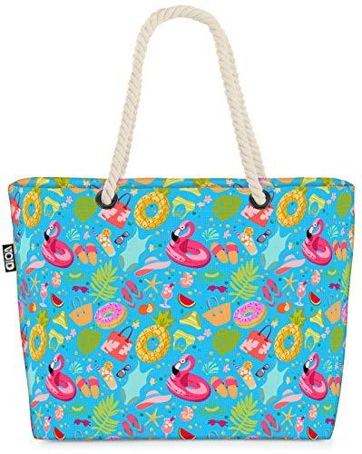 VOID Party Flamingo Badesachen Strandtasche Shopper 58x38x16cm 23L XXL Einkaufstasche Tasche Reisetasche Beach Bag