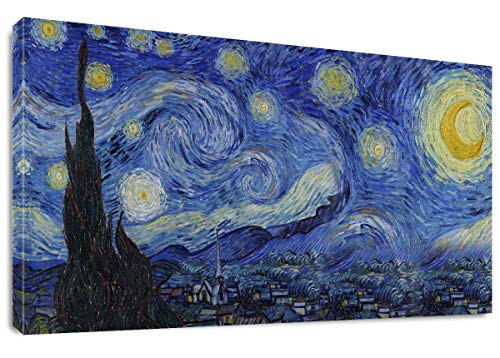 Starry Night by Vincent Van Gogh Classic Wall Art Reproduction Print On Canvas Framed for Home Decor 20' x 40'