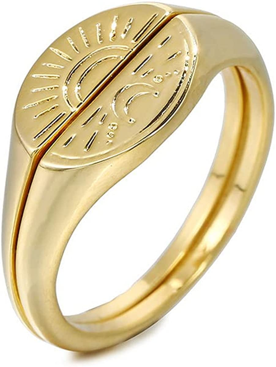 Matching Rings for Couples and Best Friends - 14K Gold Plated Sun and Moon Rings for Women,Trendy Vintage Jewelry Gifts for Teen Girls,Size 6-8
