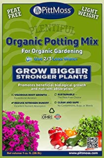 PittMoss Plentiful Organic Potting Mix (10 Qt) – For Natural Gardening – Use 2/3 Less Water – Clean and Safe – Root Growth – Sustainable – Reduce Nitrogen Runoff