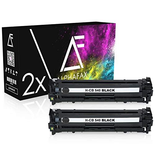 2 Alphafax Toner kompatibel zu HP CB540A für HP Color Laserjet CM1312 MFP, CM1300 Series, CM1512A, CM1500 Series, CP1210, CP1216, CP1513, CP1517-125A - Schwarz je 2.200 Seiten
