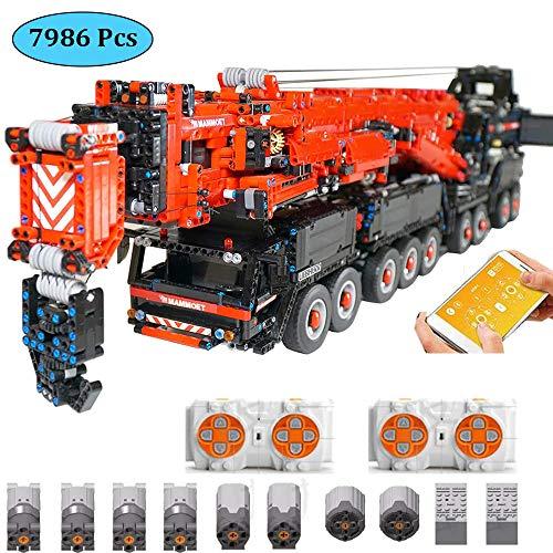 LODIY Technik Kranwagen Bausteine Ferngesteuert mit 8 Motor - 7986 Teile Technik Kran LKW Klemmbausteine Modellbau Kompatibel mit Lego