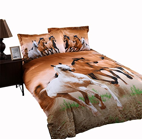ENCOFT Galloping Horse Reactive Print Polyester 3D Duvet Cover Bedding Sets Twin Size 4 Pieces(Comforter Not Included)(Twin)