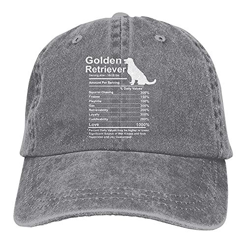 Dyfcnaiehrgrf Golden Retriever Facts Nutrición Regalo Unisex Gorra De Béisbol Lavable Para Correr Sombrero Para Adulto Gris