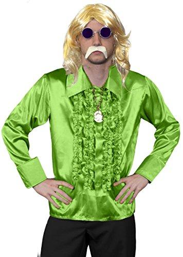 Disfraz para hombre de los años 70 de Disco, vestido largo rubio, camisa verde de los años 70, medallón dorado, cristales morados + bigote rubio, disfraz de fantasía funky - camisa verde (pequeña)