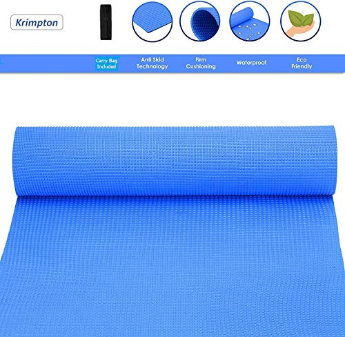 Krimpton Yoga mat for Men and Women with Free mat Bag for Gym and Home Yoga Workout, Anti Skid Anti Tear Anti Slip and Extra Cushion eco Friendly Yoga mat - Blue