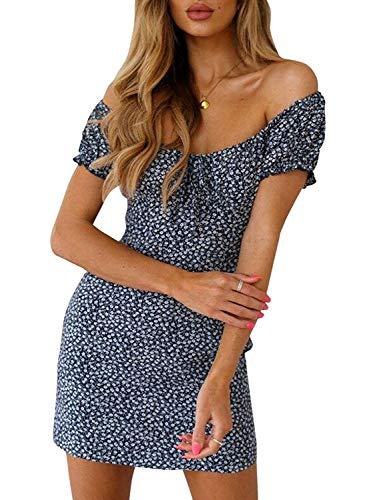 Damen Sommer hohe Taille trägerloses Kleid Vintage böhmische hohe Taille Blumendruck Strand Minikleid (Blue, L)