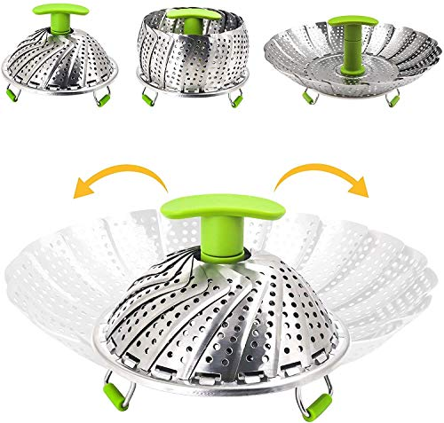 N\C Vaporizador de verduras con accesorio de vapor de acero inoxidable, accesorio para cocinar al vapor, cesta plegable para verduras, ollas y diferentes tipos de cocción (7 a 11 pulgadas).